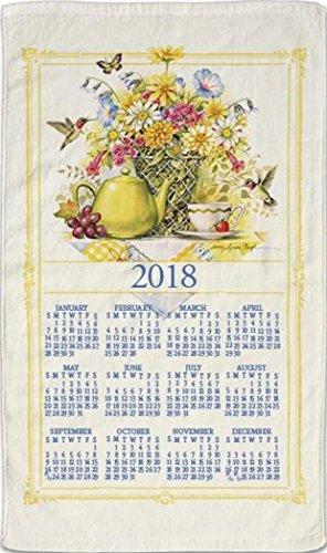 Stevens Linens - Paño de cocina en lino, diseño calendario 2018 con tacos para colgar fácilmente