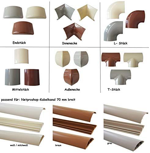 Verbinder für 70mm Fußboden Kabelkanal Auswahl Typ und Farbe, Farbe Kabelkanal:Braun, Größe Kabelkanal Verbinder:70mm-Typ L