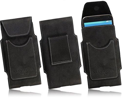 Slim Design Echt Ledertasche von Matador für BQ Aquaris X5 Cyanogen Edition Handytasche Vintage Style Hülle Schutz Etui Vertikaltasche mit verdecktem Magnetverschluß & Gürtelschlaufe (Schwarz/Black)