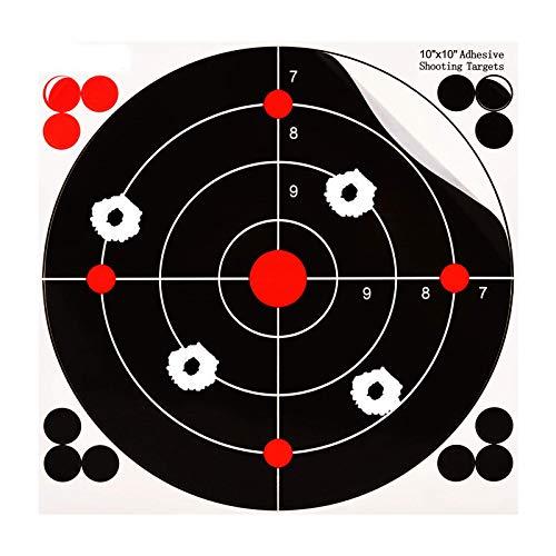 MEMX Bersagli Reattivi, Adesivi per Tiro Bersagli da 25 fogli da 25.4CM Autoadesivi Reattivi Bullseye, Alta Visibilità Impact Perfetti Tutti i Fucili, Pistole, Carabine ad Aria Compressa, Softair