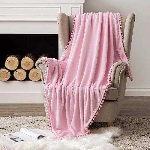 MIULEE Kuscheldecke Fleecedecke Flanell Decke Mit Pompoms Einfarbig Wohndecken Couchdecke Flauschig Überwurf Mikrofaser Tagesdecke Sofadecke Blanket Für Bett Sofa Schlafzimmer Büro 153x203cm Pink