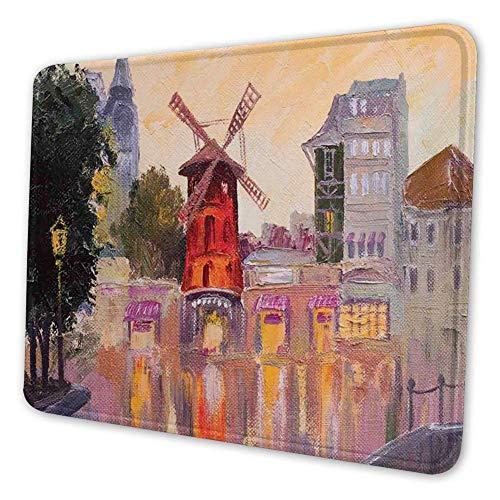 Rechthoekige Mousemat Mousepad, Schilderij van Moulin Rouge in Parijs Centrum van Liefde Vintage Frankrijk Art Print