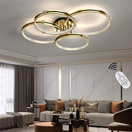 Lámpara De Techo Salon Moderna, Luz De Techo LED De Cristal, Lámpara De Araña Regulable, Lámpara Colgante Para, Salón Comedor