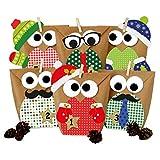 Papierdrachen Calendario dell'Avvento Fai-da-Te - Gufi Natalizi - Gufi di Natale 2018 - Set Rosso con Decorazioni aggiuntive - per bricolage