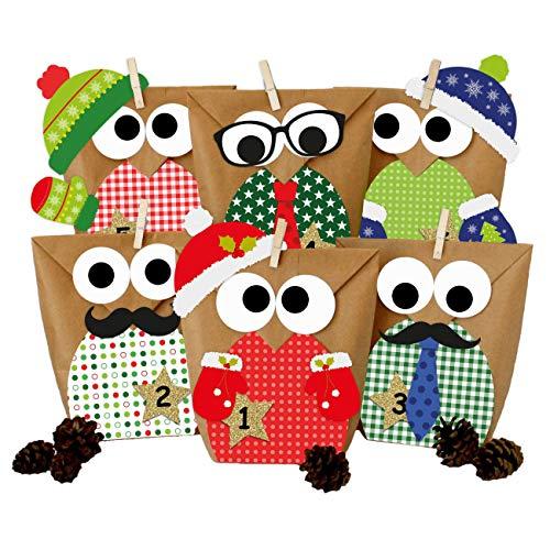 Papierdrachen DIY Adventskalender zum Befüllen - Weihnachtseulen - Eulen Weihnachten 2019 - Set Rot mit zusätzlicher Dekoration - zum selbst basteln - für Kinder
