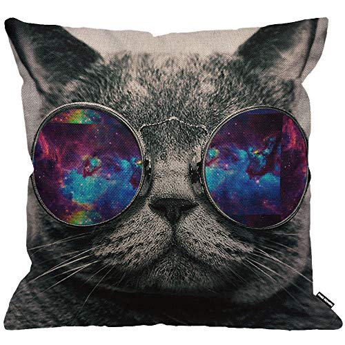 HGOD DESIGNS Galaxy Hipster Cat Cushion Cover,Funny Cat Wear Color Sunglasses Rectangle Throw Pillow Case Home Decorative for Men/Women Living Room Bedroom Sofa Chair 18X18 Inch Pillowcase 45X45cm