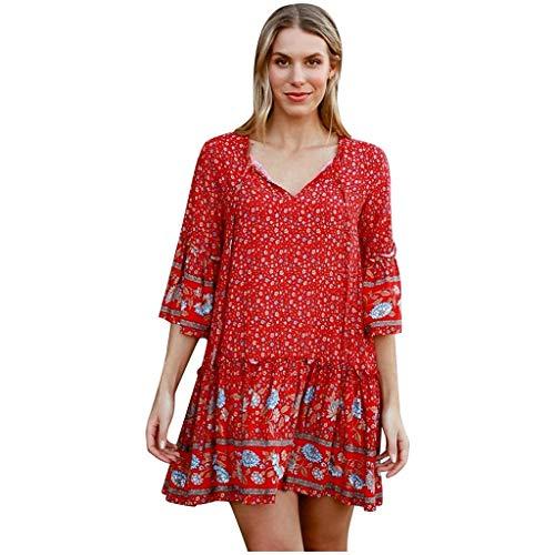 Mini vestido de mujer bohemio con estampado floral, talla grande, cuello en V, manga larga, largo hasta la rodilla, elegante vestido de verano, vestido de playa, 05-rojo, L