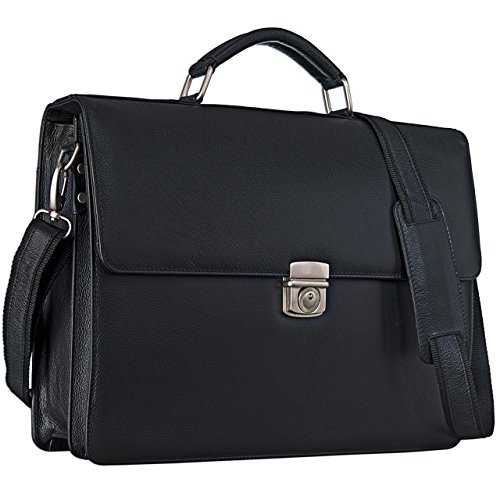 STILORD 'Robert' Aktentasche Businesstasche 15,6 Zoll Laptopfach passend für große DIN A4 Ordner mit Schloss Rinds Leder, Farbe:schwarz