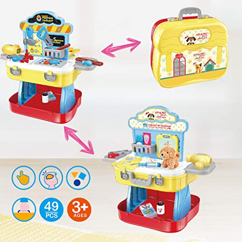 Poniu Pretend Play Tool, Workbench Building Toys, Pet Care Play Set, Suitcase Playset, 3 in 1 Best Gift for Children Kids (US Ship)