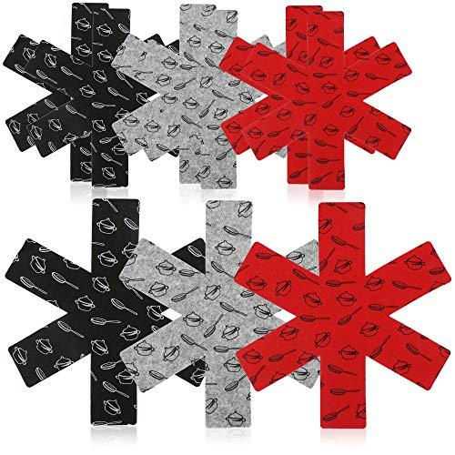 com-four® 9 protections de casseroles en feutre, anti-rayures pour casseroles, avec motif décoratif, en noir, rouge et gris (09 pièces - gris/rouge/noir)