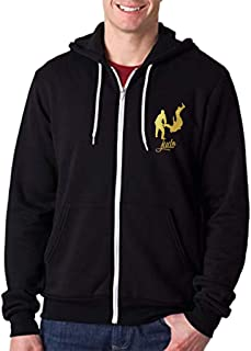 Interstate Apparel Mens Gold Foil Jiu Jitsu Emblem Chest Black Fleece Zipper Hoodie Black
