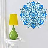 mlpnko Mandala Indian Yoga Flower Etiqueta de la Pared Art Deco Mural Decoración del hogar Vinilo Autoadhesivo,CJX10765-58x58cm