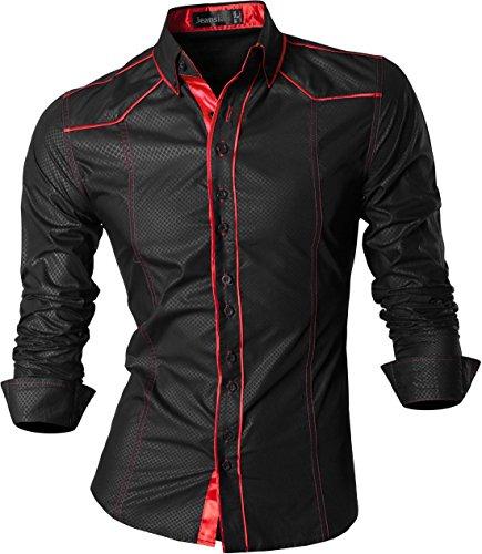 jeansian De Manga Larga De Los Hombres De Moda Slim Fit Camisas Men Fashion Shirts Z034 Black M