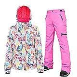Damen Skianzüge 2 Stück Set Snowboard Skihose Jacke Wasserdicht Atmungsaktiv Winddicht Skijacke Ski Outfit Snowboard Schneeanzug Sets Gr. L, rose