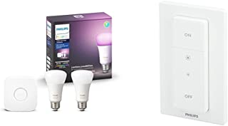 Philips Hue White and Color Ambiance Equivalent LED Smart Light Bulb Works with Alexa, Apple HomeKit and Google Assistant and Smart Dimmer Switch with Remote