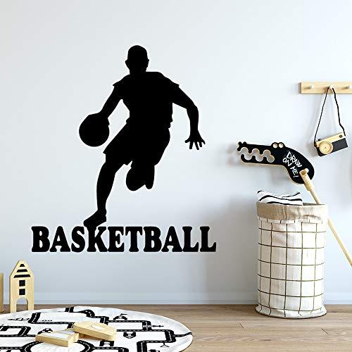 AGjDF Selbstklebende Basketball Wandtattoo Kunst Tapete dekorieren wasserdichte Tapete für Kinderzimmer28x31cm