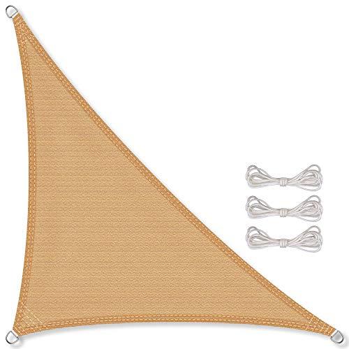CelinaSun Sonnensegel inkl Befestigungsseile HDPE wetterbeständig atmungsaktiv Dreieck rechtwinklig 4 x 4 x 5,65 m Sand beige