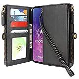 Cmid Motorola One Zoom Case, PU Leather Wallet Case Flip
