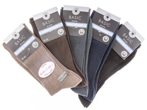 SOUNON 10 Paar Herren Socken ohne Gummi (100prozent Baumwolle) Mehrfarbig, Groesse: 43-46