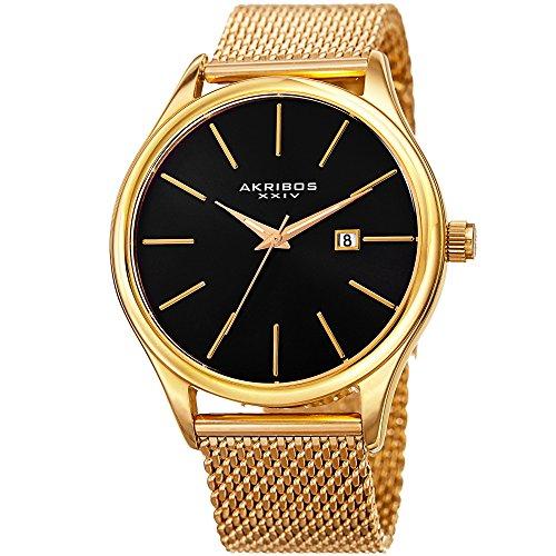 Akribos XXIV AK959 - Reloj de Pulsera para Hombre, diseño clásico y Casual, Redondo, de Malla de Acero Inoxidable, Color Negro y Gris