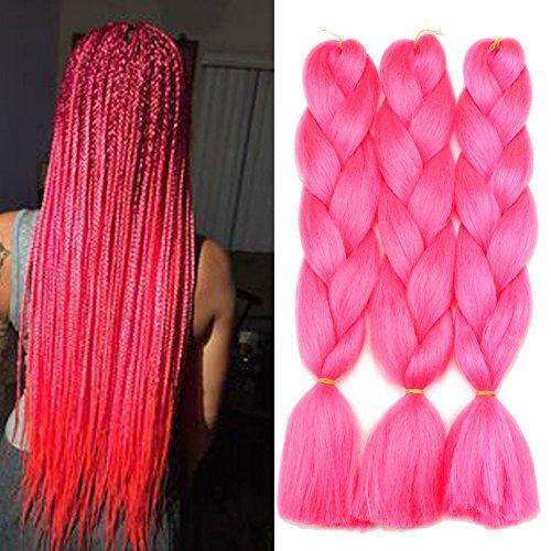 Lisshow Braiding Hair 24inch 100g Synthetic Jumbo Braids Hair Extensions High Temperature Fiber 3Piece/Lot (Hot Pink)