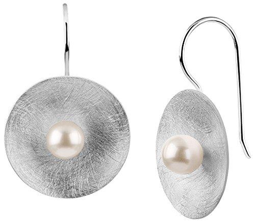 Nenalina Silber Damen-Ohrringe Ohrstecker Ohrhänger mit Muschel Perlen 6 mm, 925 Sterling Silber, Perlohrringe für Frauen matt gebürstet, Hochzeit Ohrringe, 722164-346