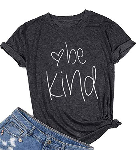 Be Kind T-Shirt Women's Graphic Printed Fashion Short Sleeve Tops Blouses Size US S/Tag M (Gray)