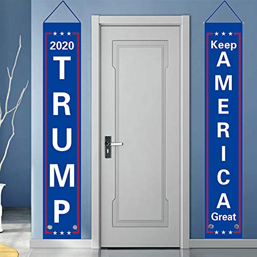 Donald Trump Flag Banner, Trump 2020 Flag Keep America Great Flag Porch Sign for President 2020 Hanging Garland America Party Decoration