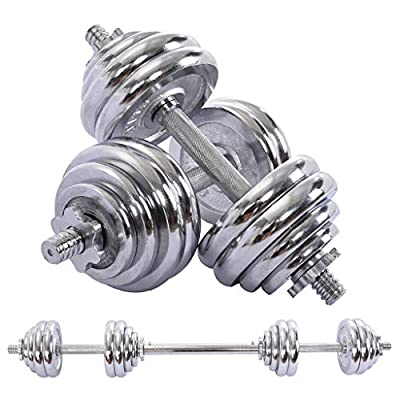 Amazon - Save 75%: Aimik Adjustable Dumbbells Barbell Weights Set with Connector,30Kg(66Lbs) No…