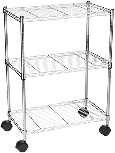 AmazonBasics 3-Shelf Shelving Storage Unit on 3' Wheel Casters, Metal Organizer Wire Rack, Chrome Silver (23.2L x 13.4W x 32.75H)