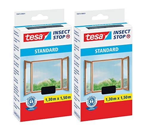 tesa Insect Stop STANDARD Fliegengitter für Fenster - Insektenschutz zuschneidbar - Mückenschutz ohne Bohren - Fliegen Netz anthrazit (1,3m:1,5m (2er Pack), Anthrazit (Durchsichtig))