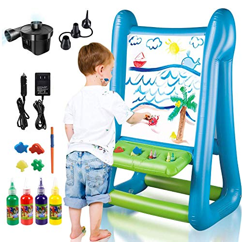 NextX Kids Outdoor&Indoor Inflatable Easel Portable and Washable Double Sides Art Easel for Ages 4+ Years Old Children Toddlers, Include Inflator