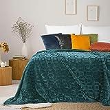 Eurofirany Decke Wohndecke Gemometrische Muster Tagesdecke Kuscheldecke Couchdecke Sofadecke Überwurf Bettüberwurf Schlafzimmer Wohnzimmer Kuschelig, Türkis, 150x200cm