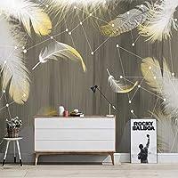 カスタム3D壁紙現代のミニマリストの木目羽毛星座パターン壁画リビングルームテレビ寝室3D, 250cm×175cm
