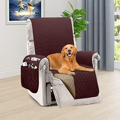 Honest Reversible Recliner Slipcover, Water Resistant Recliner Chair Cover with Side Pockets,Washable Recliner Protector Cover with Elastic Straps for Pets Kids Children Dog(23In,Chocolate&Beige)