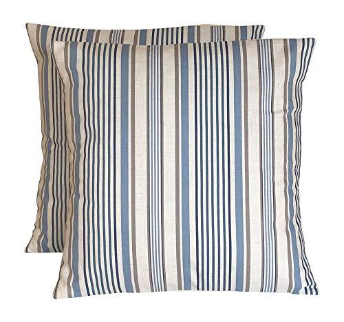CUSHIONS2U Juego de dos fundas de cojín de 40 x 40 cm, diseño de rayas, color azul y gris y crema