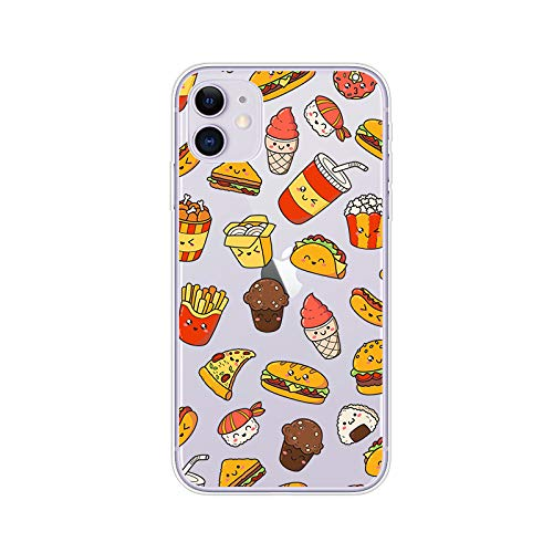 iPhone 11 (6.1 inch) Case,Blingy's Fun Food Design Transparent Clear Soft TPU Protective Case Compatible for iPhone 11 6.1' 2019 Release (Happy Fast Food)