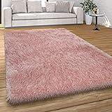 Alfombra Pelo Largo Salón Shaggy, Colores Pastel, Hilo Suave, Monocolor, tamaño:80x150 cm, Color:Rosa