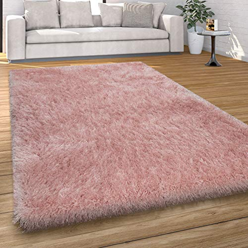 Alfombra Pelo Largo Salón Shaggy, Colores Pastel, Hilo Suave, Monocolor, tamaño:60x100 cm, Color:Rosa