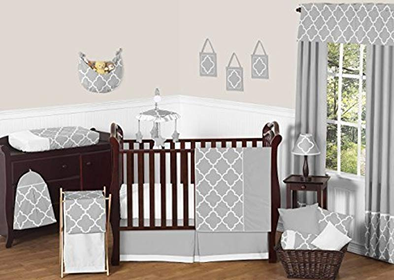 Sweet Jojo Designs 11 Piece Modern Gray And White Trellis Baby Bedding Gender Neutral Girl Or Boy Lattice Print Crib Set Without Bumper