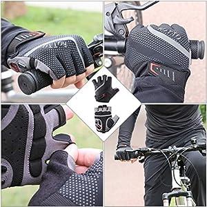 ROTTO Guantes Ciclismo Guantes MTB Medio Dedo para Mujer Hombre con Gel y SBR Acolchado (Gris-Negro, L)