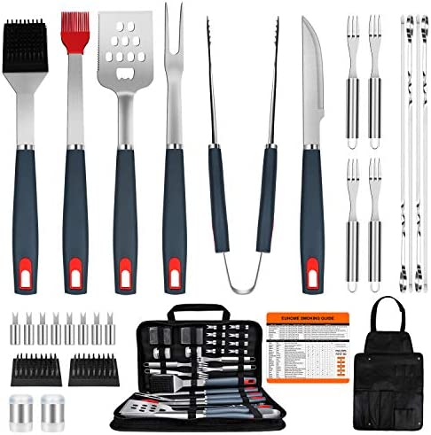 EUHOME BBQ Grill Accessories Heavy Duty Grill Utensils 31 PCS Set Extra Thick Stainless Steel product image