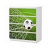 Set Möbelaufkleber für Ikea Kommode MALM 4 Fächer/Schubladen Tor Fussball Ball Feld Sport Fußball Aufkleber Möbelfolie sticker (Ohne Möbel) Folie 25B1548