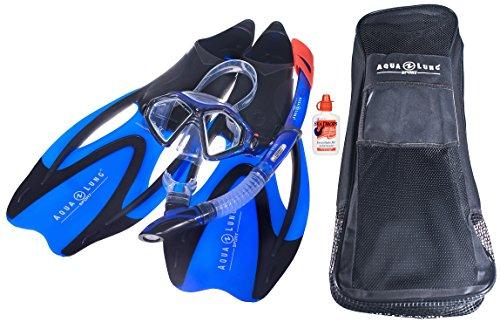 AQUALUNG Proflex X - Schnorchelset incl. Tasche + Seadrops Maskenclear - hochwertige Schnorchelausrüstung bestehend aus: Tauchmaske - Schnorchel - Flossen - Tasche - Maskenclear.