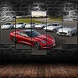 YFTNIPL Impresión 5 Piezas Lienzo Chevrolet Corvette C1 C2 C3 C5 C6 Casa Sala Oficina Regalo Decoración Mural HD Imágenes Póster 5 Piezas Artística Cuadros 5 Piezas De Pared Fotos Cuadros En Lienzo