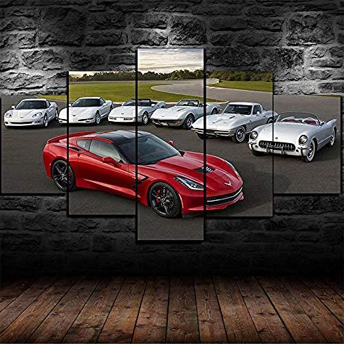 YFTNIPL Canvas Picture 5 Pieces Wall Art Prints On Canvas Artwork Chevrolet Corvette C1 C2 C3 C5 C6 Modern Artwork Decoration 5 Canvas Wall Art for Living Room Wall Art 5 Piece Set Canvas