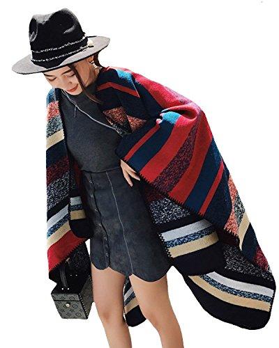 Adelina Cape dames herfst winter warme omslag vintage casual gestreept omslagdoek stola kleding poncho oversized retro
