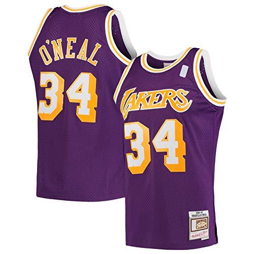 DAEYU producto popular Purple -Lakers Basketball Jersey O'Neal Los Hombres Camiseta Angeles Nets #34 Shaquille Hardwood Classics Swingman Jersey Icono Edition-XXL