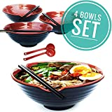 4 XL bowl set, 12 Pieces Ramen Bowl Set, Asian Japanese soup with Spoons and Chopsticks. Restaurant Quality Melamine, Large 50 oz for Noodles, Pho, Udon, Thai, Chinese dinnerware, 9 inch