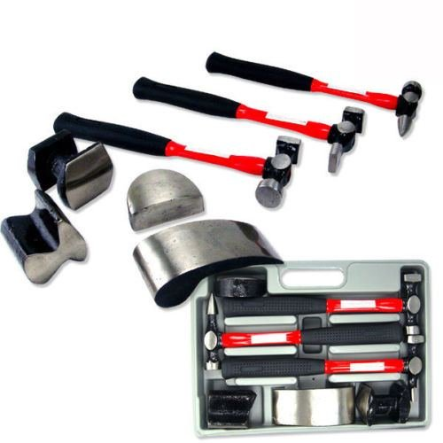 7 pc Heavy Duty Dent Auto Body Fender Repair Hammer Dolly Professional Kit Set